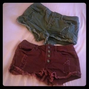 Forever 21 short shorts set, distressed raw hem